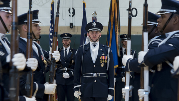 USAF Honor Guard visits New York high schools
